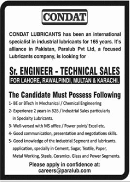 Condat Lubricants Jobs 2021 For Engineering Staff