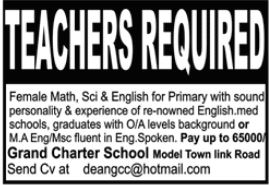 Grand Charter School Jobs 2021 For Teaching Staff In Lahore