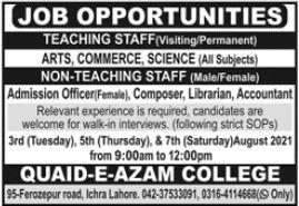 Quaid E Azam College Walk In Interviews 2021