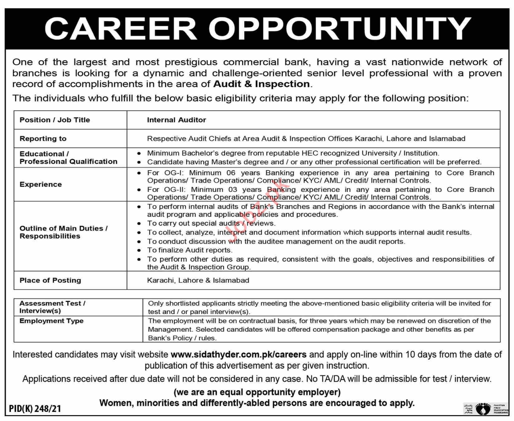 Internal Auditor & Auditor Jobs 2021 in Karachi