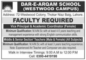Dar E Arqam School Westwood Campus Faculty Jobs 2021