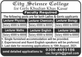 City Science College Faculty Jobs 2021 In Kasur
