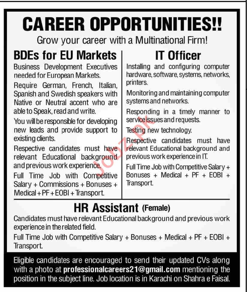 Female HR Assistant & IT Officer Jobs 2021 in Karachi