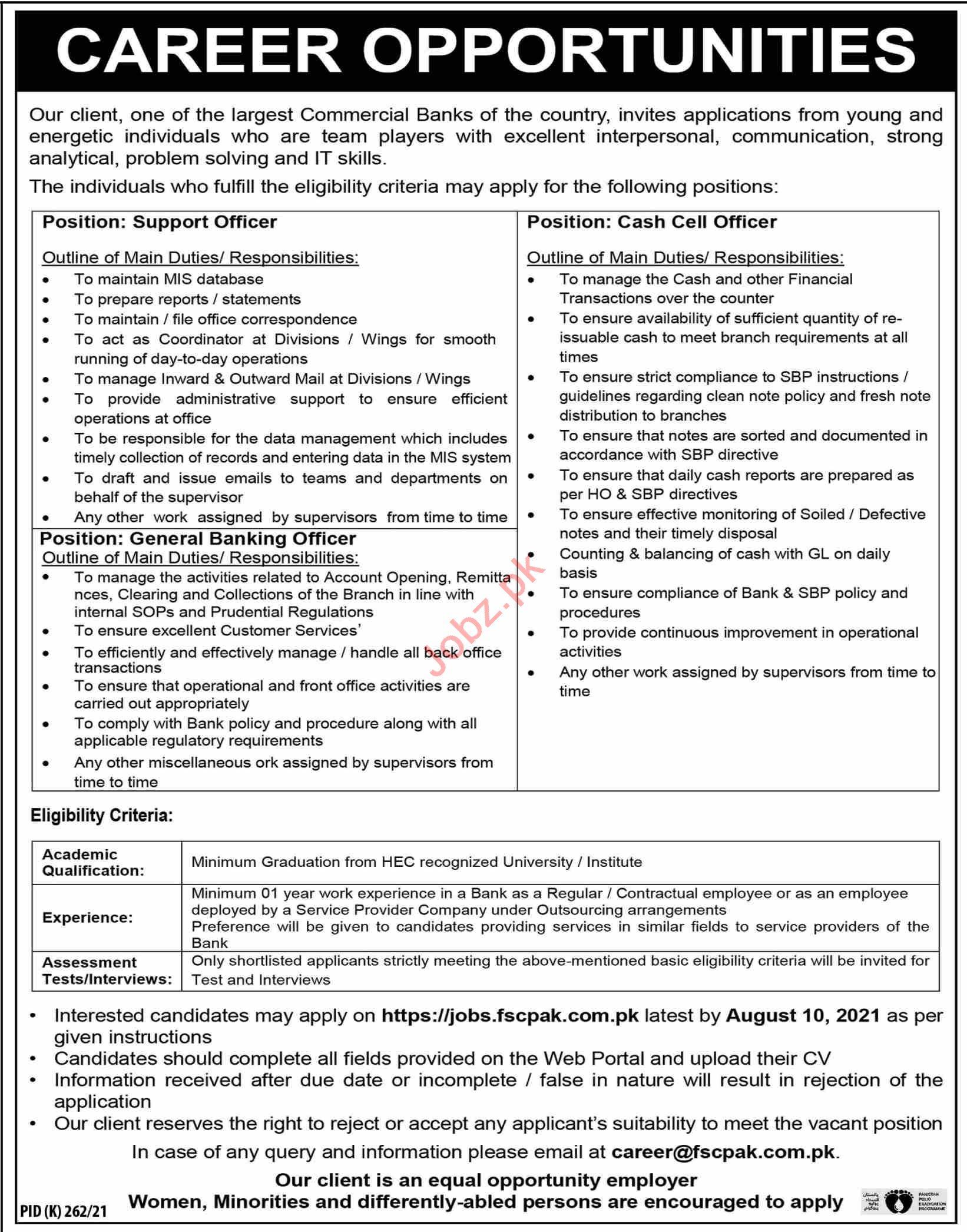 Support Officer & Cash Cell Officer Jobs 2021 in Karachi