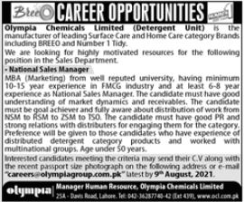 Olympia Chemicals Limited Detergent Unit Job 2021 In Lahore