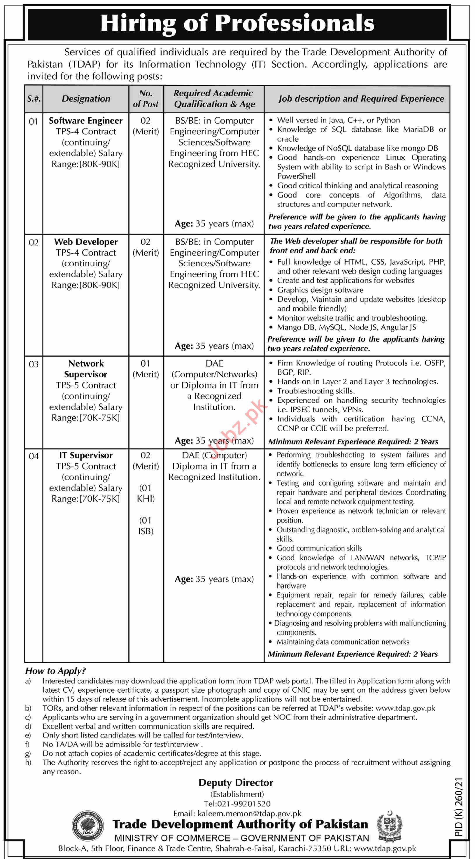 Trade Development Authority of Pakistan TDAP Jobs 2021