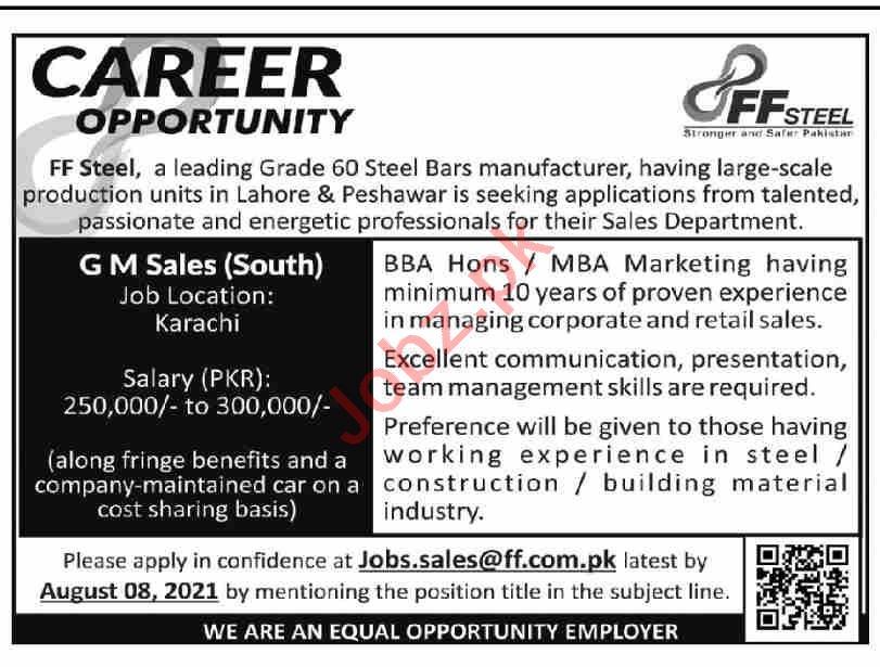FF Steel Karachi Jobs 2021 for General Manager Sales