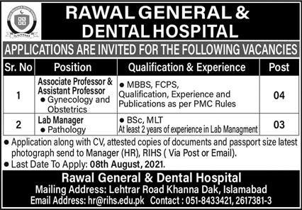 Rawal General & Dental Hospital Medical & Faculty Jobs 2021
