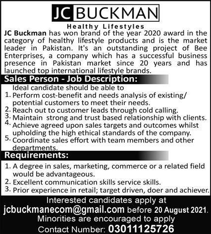 JC Buckman Sales Person Jobs 2021