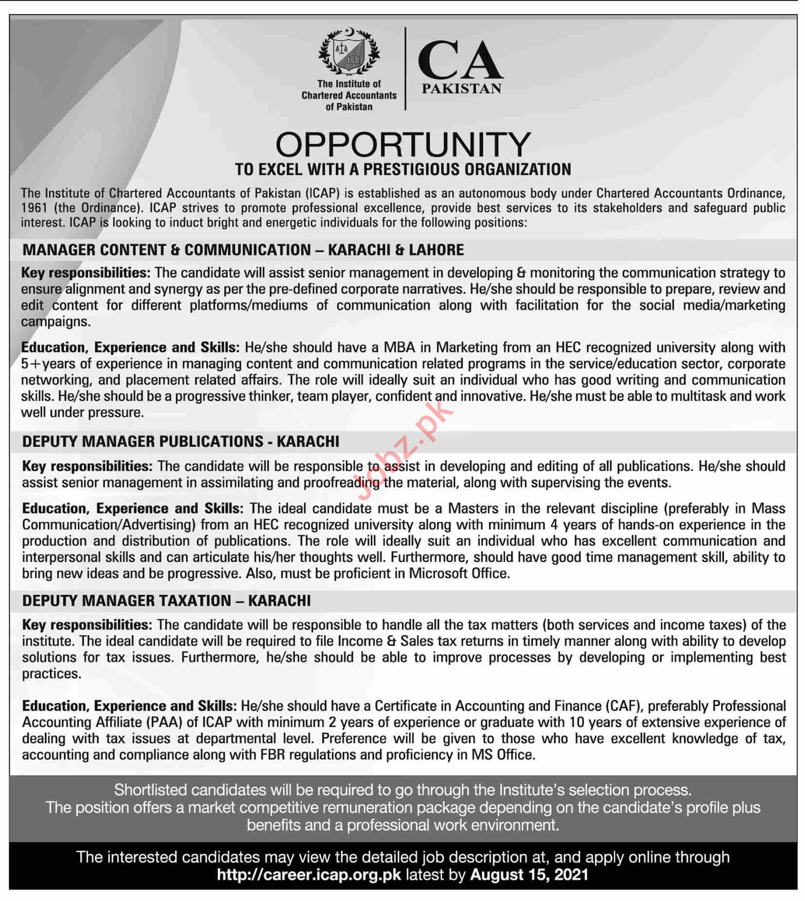 The Institute of Chartered Accountants of Pakistan Jobs 2021