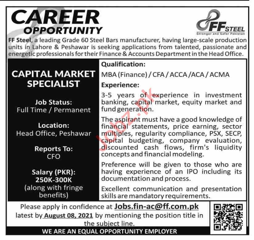 FF Steel Peshawar Jobs 2021 for Capital Market Specialist