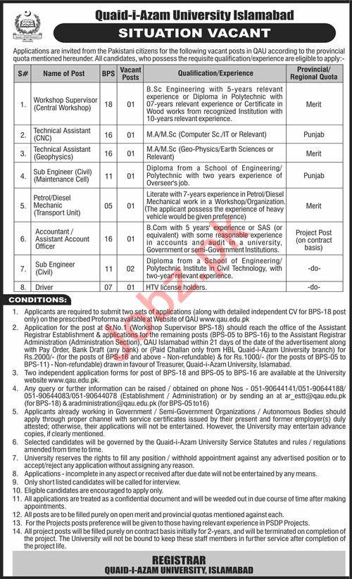 QAU Quaid i Azam University Islamabad Jobs 2021