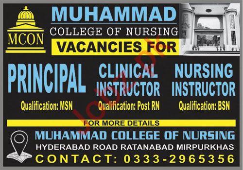 Muhammad College of Nursing MCON Mirpurkhas Jobs 2021