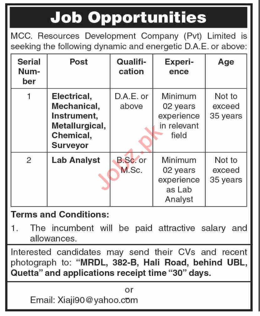 MCC Resources Development Company Quetta Jobs 2021