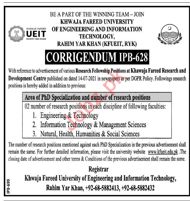 Khwaja Fareed University of Engineering KFUEIT Jobs 2021