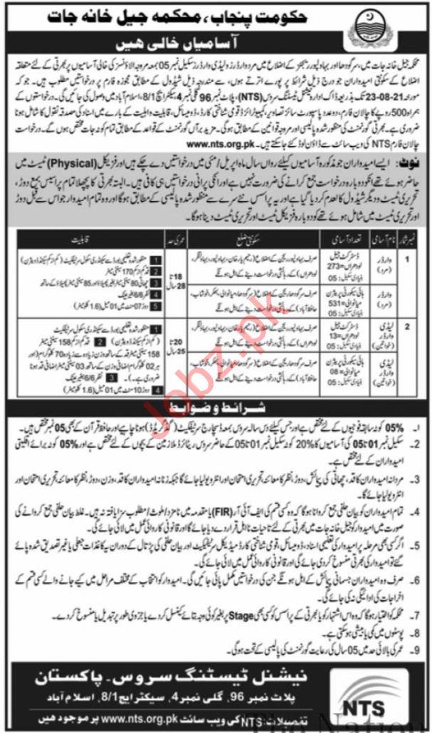Punjab Jail Department Jobs 2021 for Warder & Female Warder