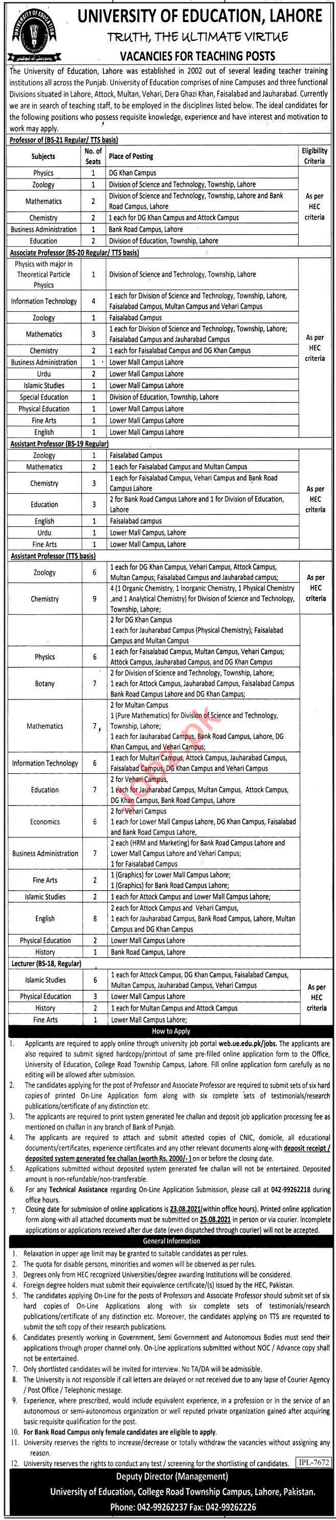University of Education Lahore Jobs 2021 for Professors