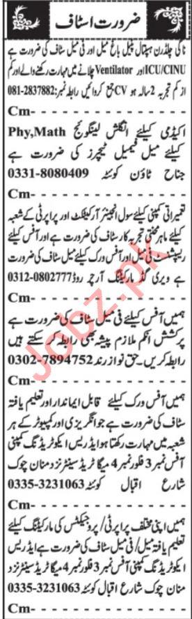 Mechanical Engineer & Assistant Supervisor Jobs 2021 Quetta