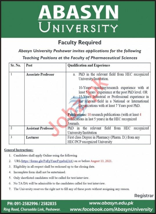 Abasyn University Peshawar Campus Jobs 2021 for Professors