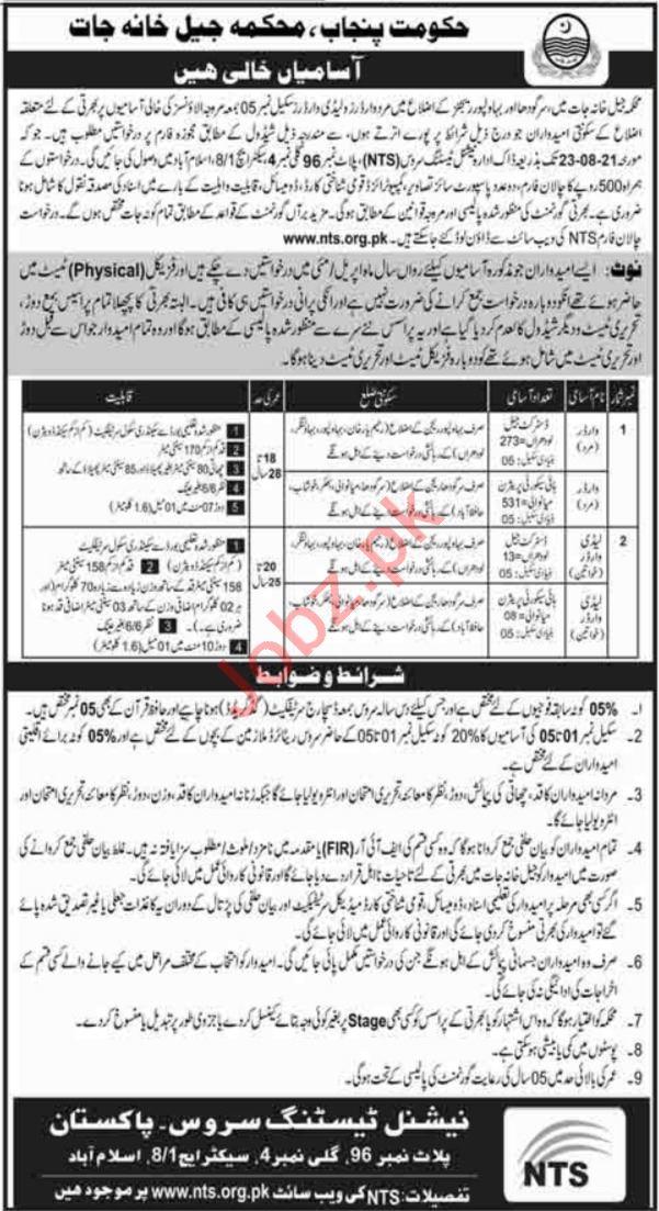 Punjab Prison Department Jobs 2021 Warder & Female Warder