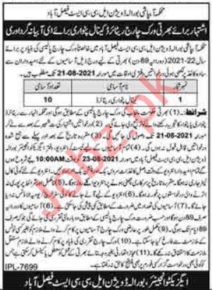 Burewala Division LCC East Faisalabad Jobs 2021 for Patwari