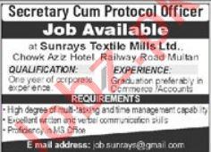 Sunrays Textile Mills Multan Jobs 2021 for Secretary