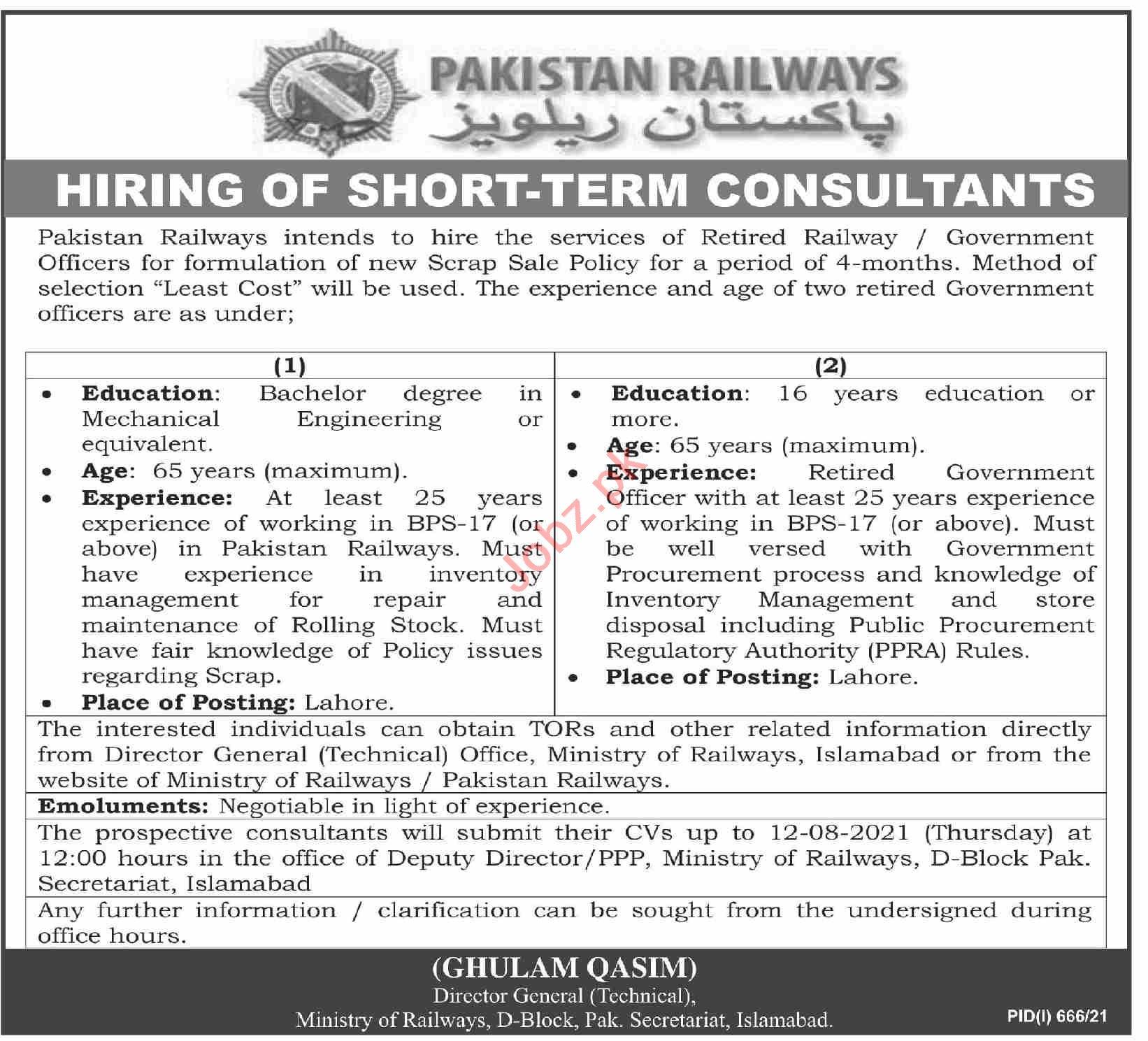 Pakistan Railways Islamabad Jobs 2021 for Consultants