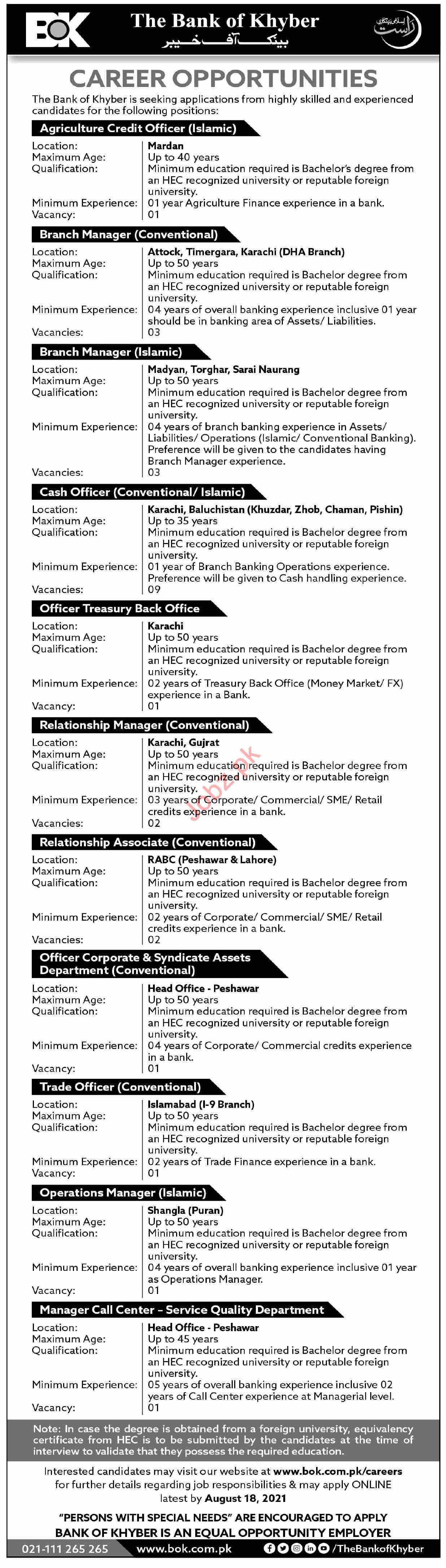 The Bank of Khyber BOK Jobs 2021 Agriculture Credit Officer