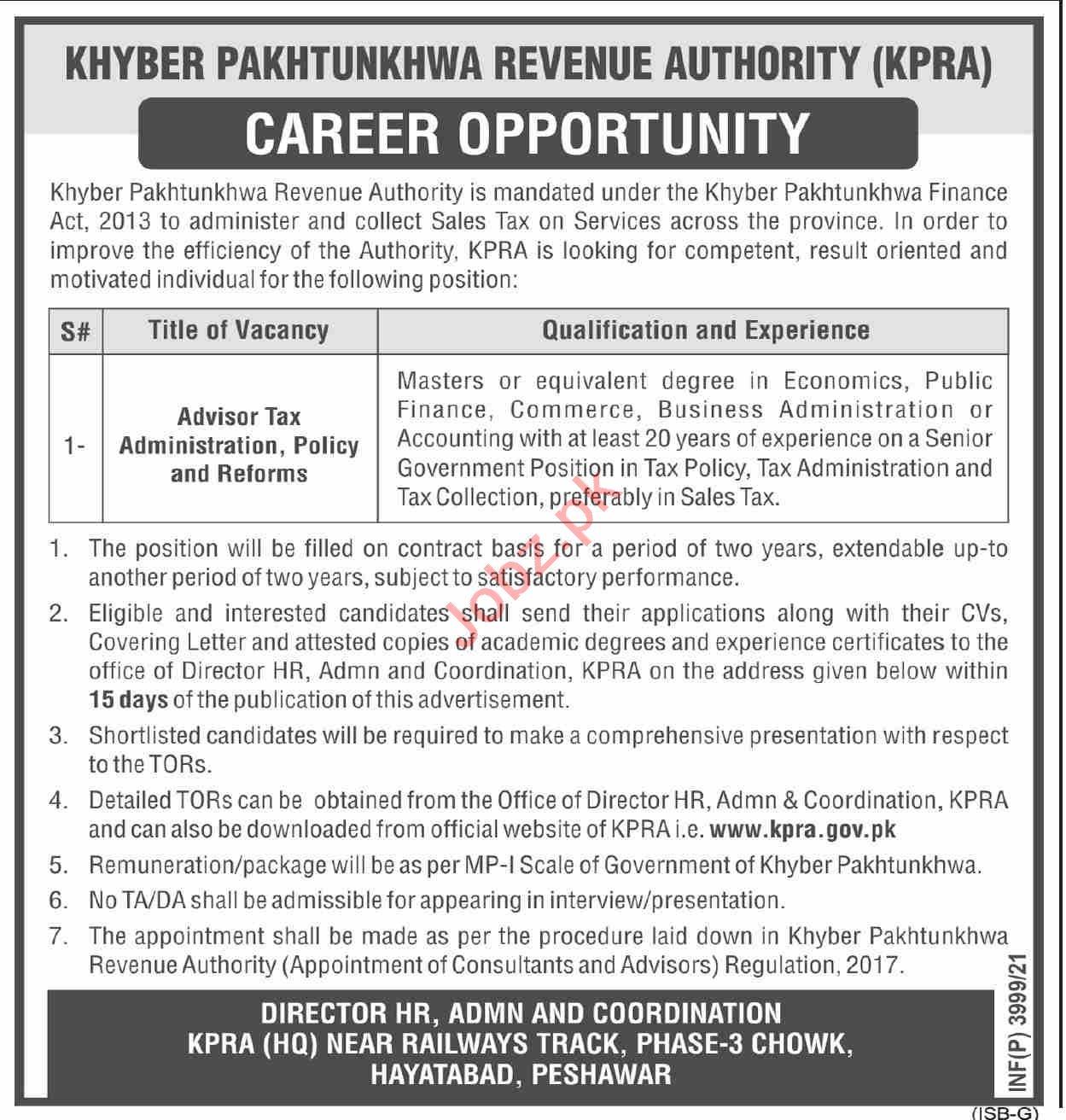 Khyber Pakhtunkhwa Revenue Authority KPRA Peshawar Jobs 2021