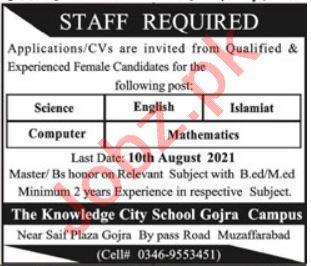The Knowledge City School Gojra Campus Jobs 2021 Teachers