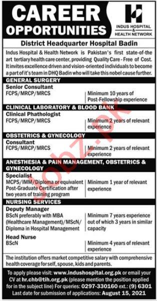 Indus Hospital & Health Network Badin Jobs 2021 Consultants