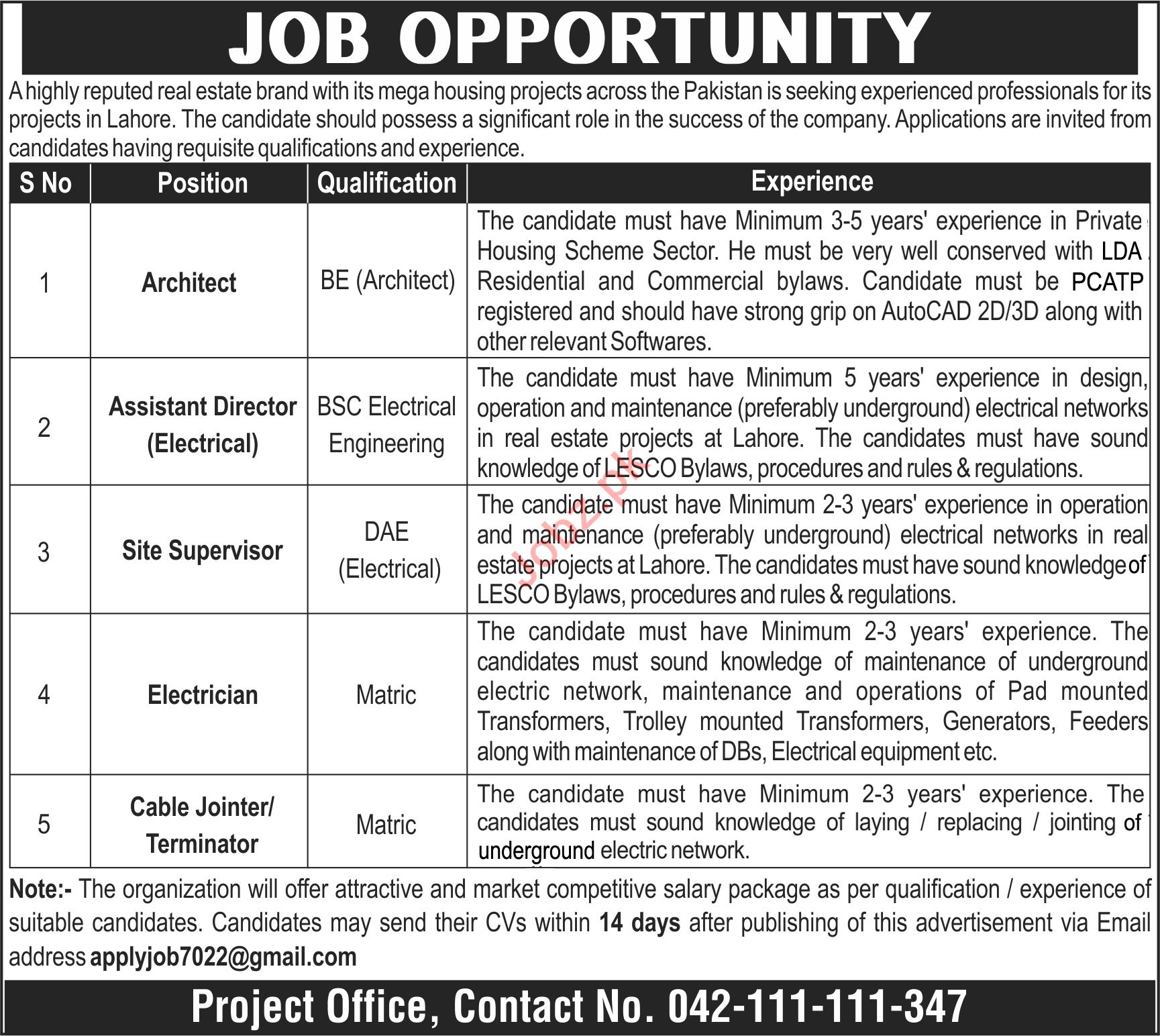 Architect & Assistant Director Electrical Jobs 2021 Lahore