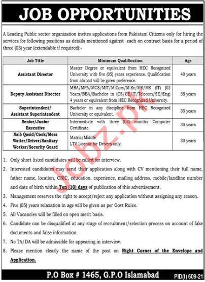 Public Sector Organization Islamabad Jobs 2021 for Directors
