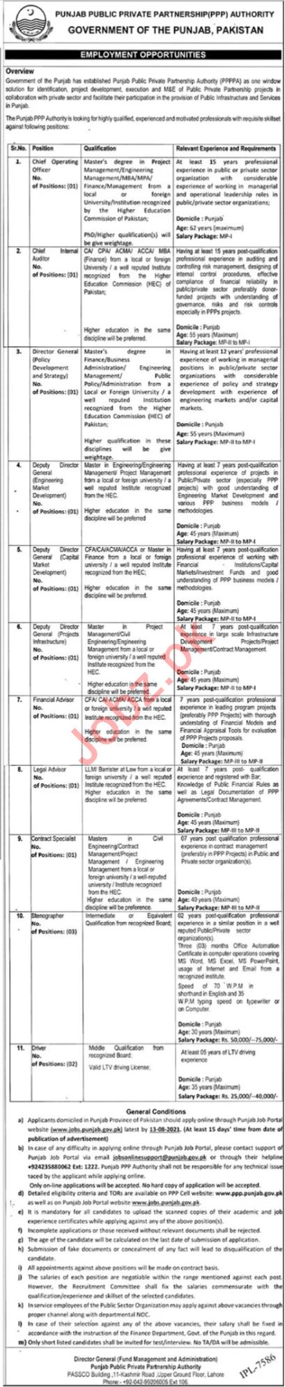 Public Private Partnership Authority PPPA Lahore Jobs 2021