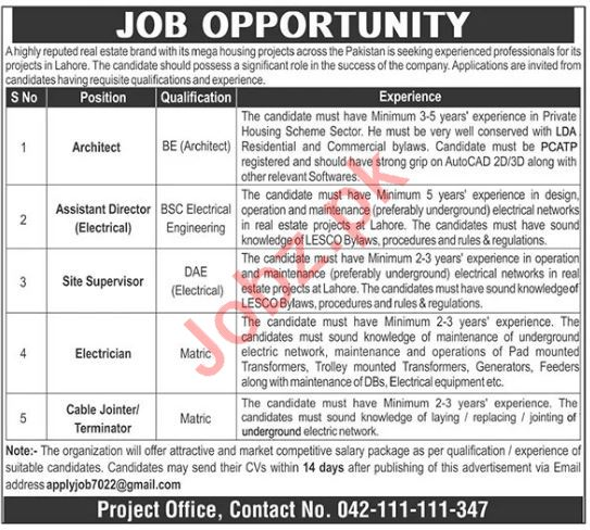 Assistant Director Electrical & Cable Jointer Jobs 2021