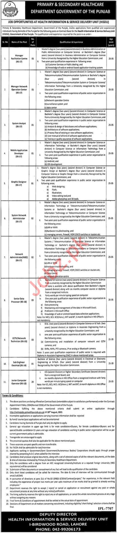 HISDU Lahore Jobs 2021 for Manager & System Analyst