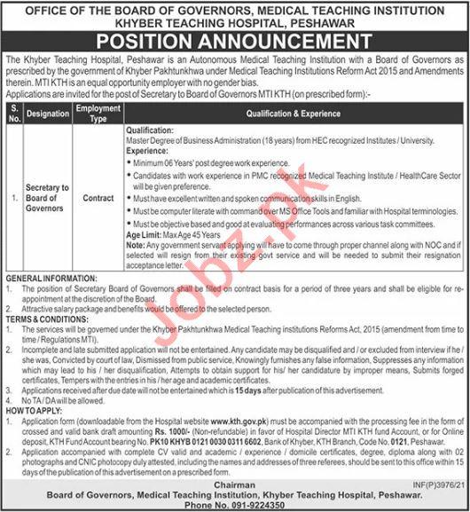 Khyber Teaching Hospital KTH Peshawar Jobs 2021 Secretary