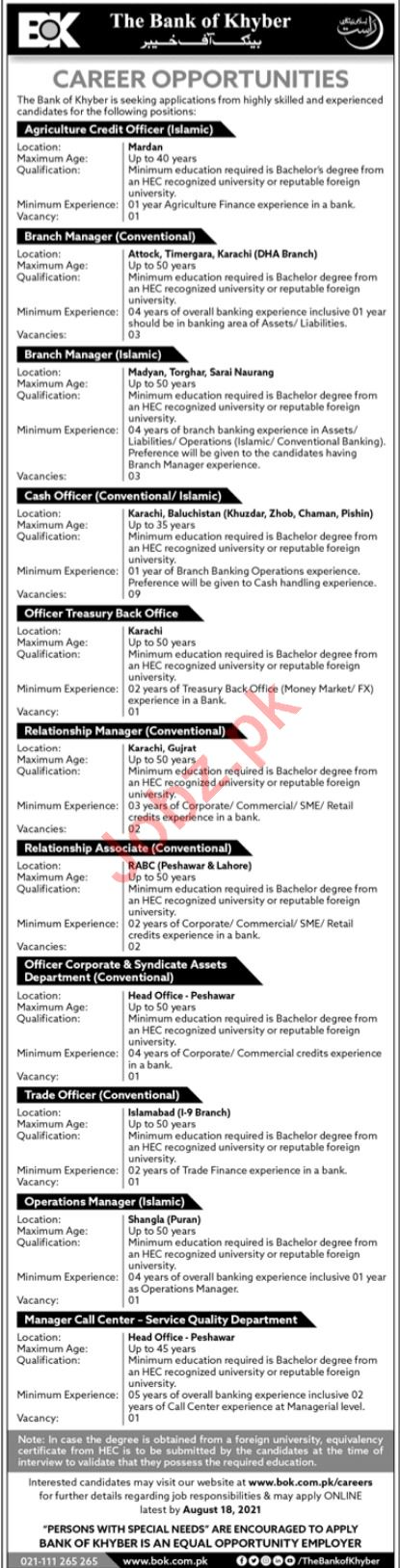Bank of Khyber BOK Jobs 2021 for Branch Manager & Manager