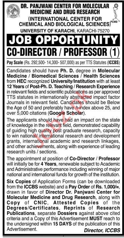 Dr Panjwani Center For Molecular Medicine ICCBS Jobs 2021
