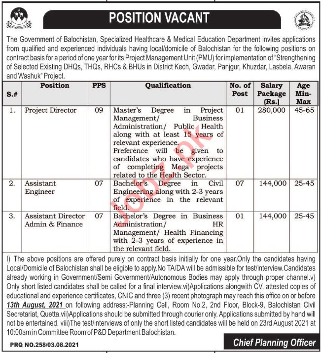 Specialized Healthcare & Medical Education Balochistan Jobs
