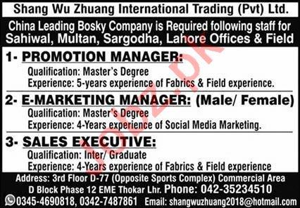 Shang Wu Zhuang International Trading Punjab Jobs 2021