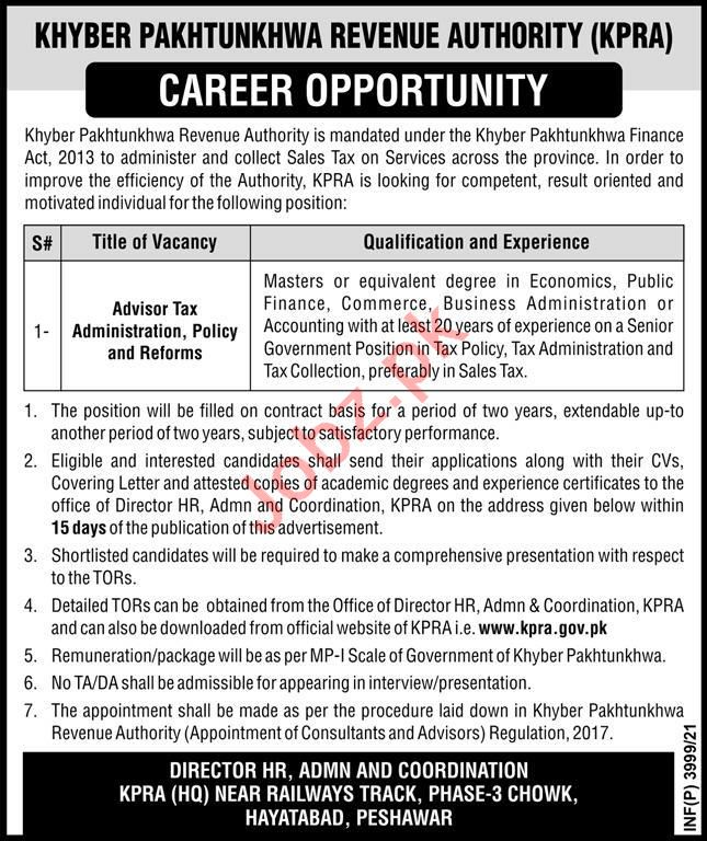 Khyber Pakhtunkhwa Revenue Authority KPRA Jobs 2021 Advisor