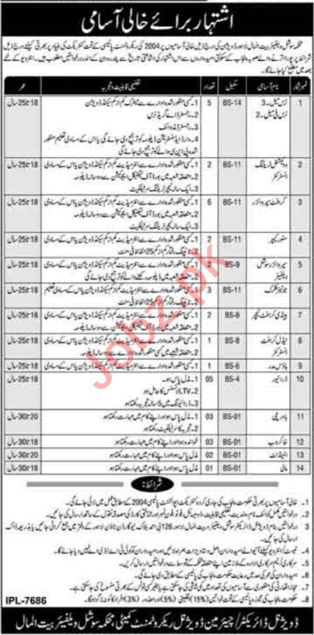 Social Welfare & Bait ul Maal Lahore Division Jobs 2021