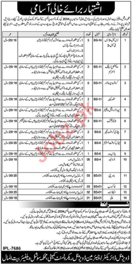 Social Welfare & Bait ul Maal Lahore Jobs 2021 for Nurse
