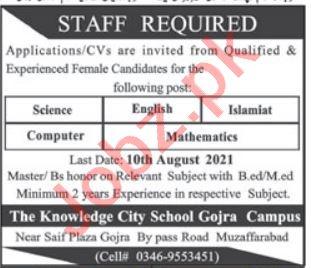 The Knowledge City School Gojra AJK Jobs 2021 Teachers
