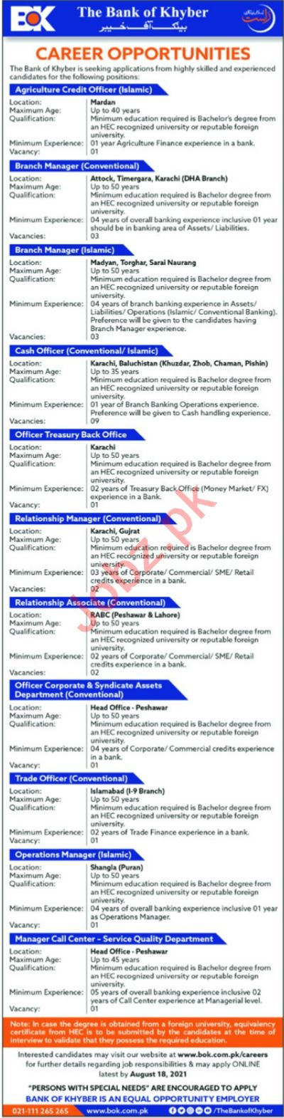Bank of Khyber BOK Jobs 2021 Cash Officer & Branch Manager