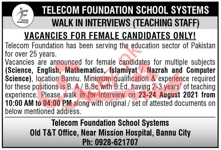 Telecom Foundation School Systems TFSS Bannu Jobs 2021