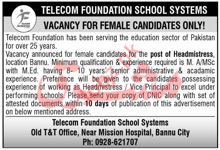 Telecom Foundation School Systems Jobs 2021 Headmistress
