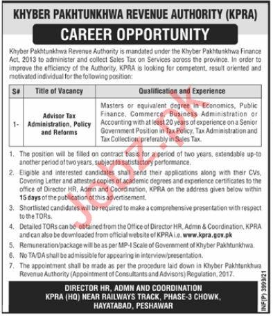 KPRA Khyber Pakhtunkhwa Revenue Authority KPK Jobs 2021
