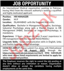 Manager & HR Manager NGO Jobs 2021 in Islamabad